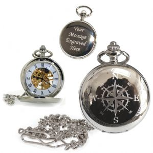 Compass Mechanical Skeleton Pocket Watch